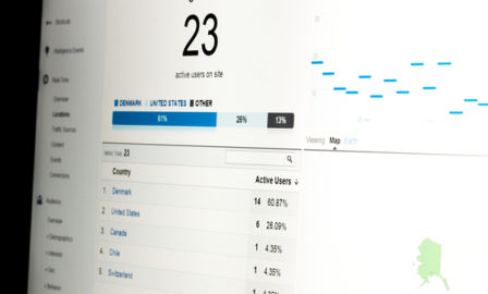 Web analytics data on computer monitor