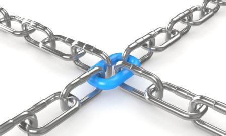 Image of chains linking to an integral blue chain link.