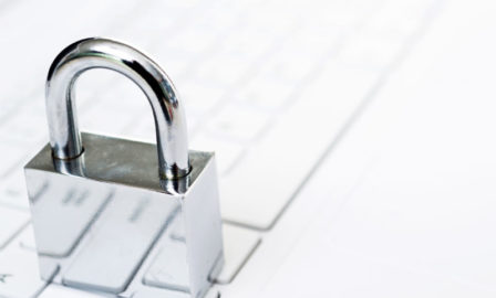 Image showing a lock over a laptop, symbolizing cybersecurity