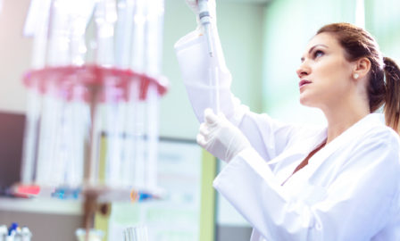 Image of a scientist managing aspects of the clinical supply chain